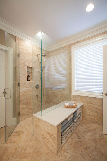Shower with built-in bench.